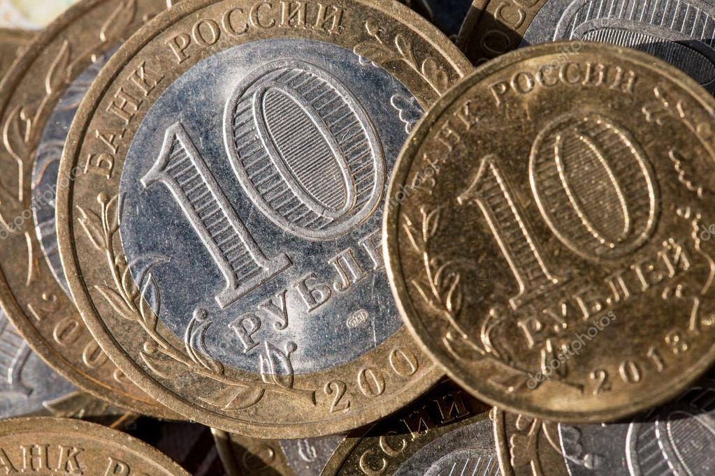 Münze 10 Rubel Auf Einem Hintergrund Papier Noten Im Wert Von