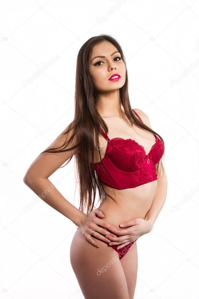 955d141f3a Girl in red underwear on white background — Stock Photo © MomSirk ...