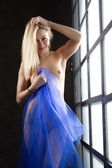Fotografie young naked girl standing near the huge windows, hiding behind a blue cloth