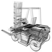 Photo isolated transparent forklift truck