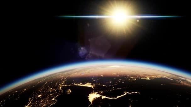 Weltraum, Sonne und Planet Erde bei Nacht