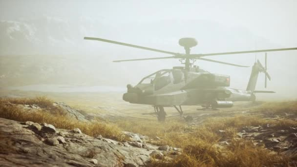 military helicopter in mountains at war