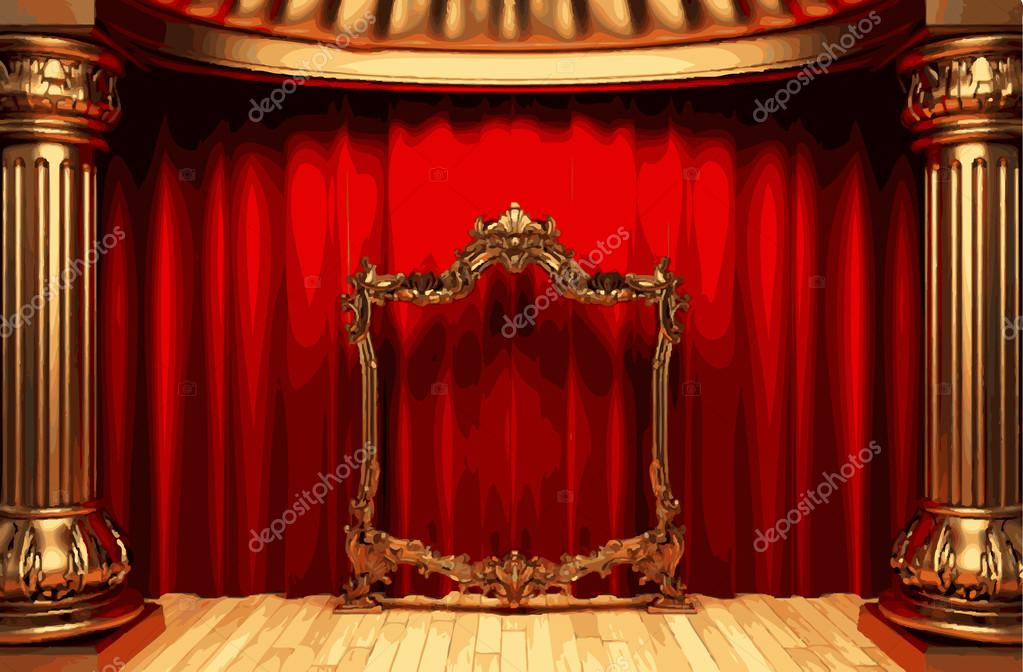 vector golden frame and rev curtain stage — Stock Vector © icetray ...