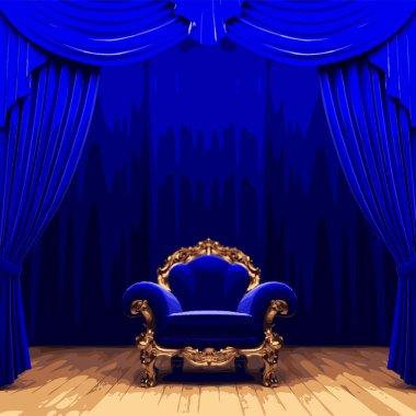 vector chair snd blue velvet curtain stage