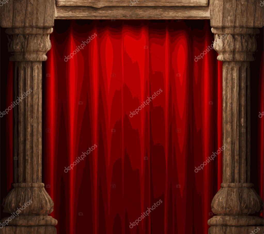 Vektor Rot Samt Vorhang Bühne Stockvektor Icetray 68212331
