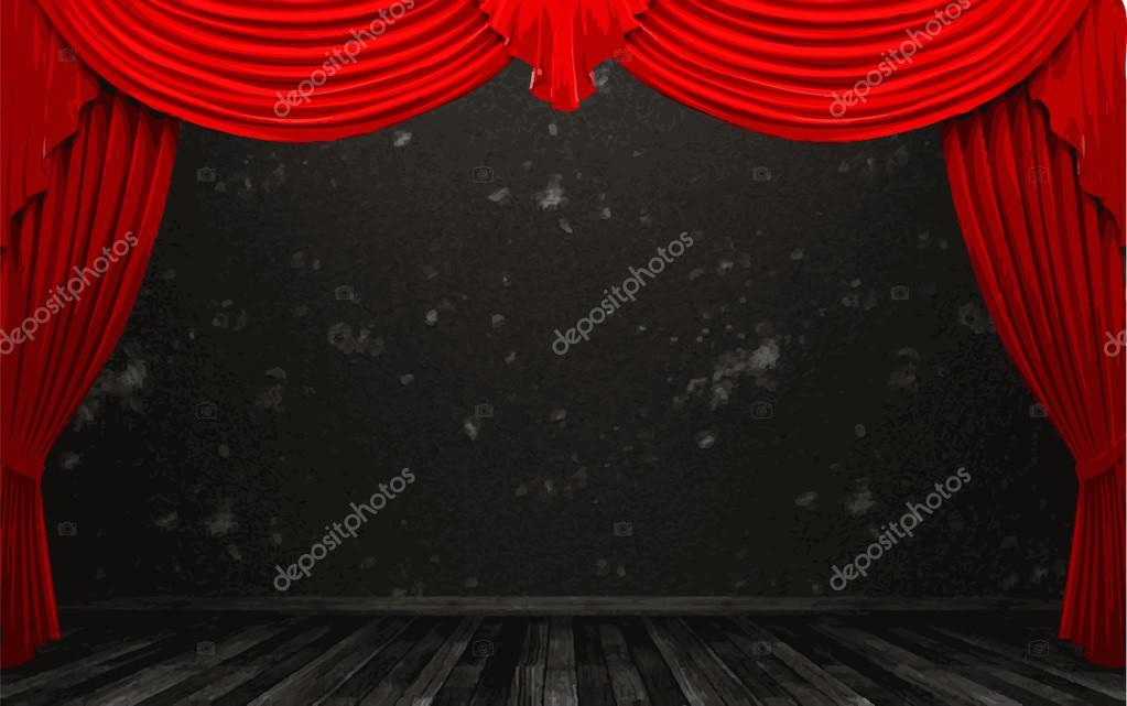 Vektor Rot Samt Vorhang Bühne Stockvektor Icetray 68900831