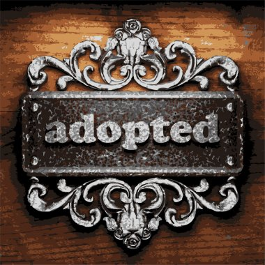 adopted vector metal word on wood