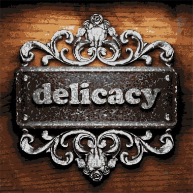 delicacy vector metal word on wood