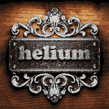 helium vector metal word on wood