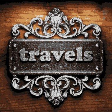 travels vector metal word on wood
