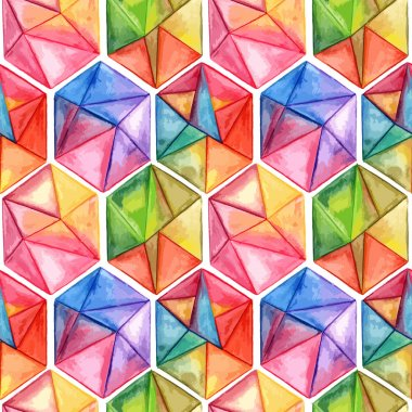 Vector  Watercolor Geometric Seamless Pattern with Hexagons clip art vector