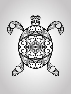 Turtle in black and white colors