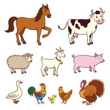Farm animals in cartoon style