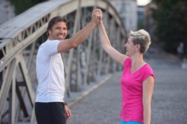 couple congratulate and happy to finish