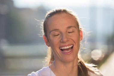 jogging woman portrait