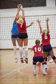 Skupina mladých krásných dívek hraje volejbal