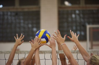 young beautiful girls playing Volleyball