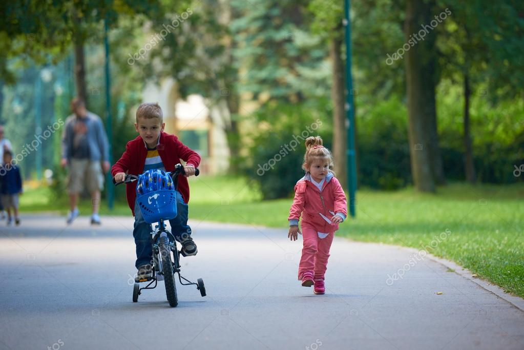 Kids in park, boy and girl