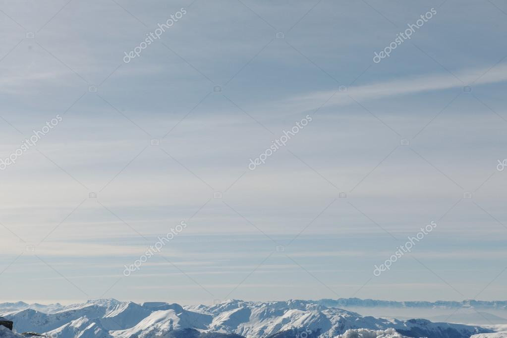 mountain view winter landscape with fresh snow