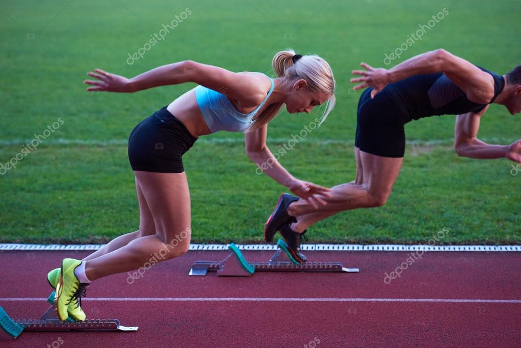 Athlete Woman Running On Athletics Race Track Soccer Stadium And Representing Competition Leadership Concept In Sport Photo By Shock