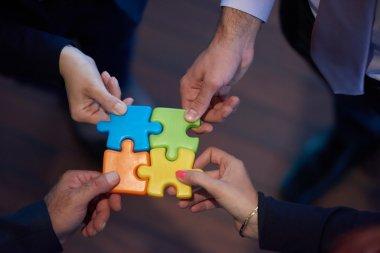 assembling jigsaw puzzle