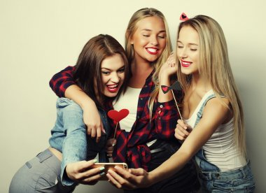 Life style, happiness, emotional and people concept: funny girls, ready for party, selfie stock vector