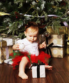 Photo Baby with christmas background