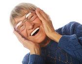Fotografie Freudig überrascht leitende Frau Blick in die Kamera
