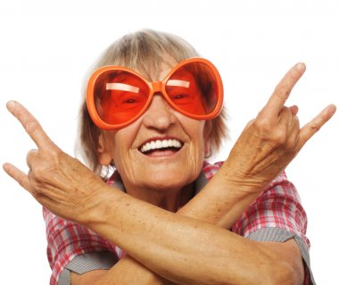Senior woman wearing big sunglasses