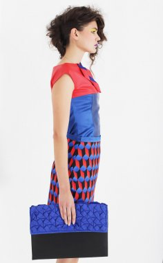 beautiful woman in an colorful dress with a clutch