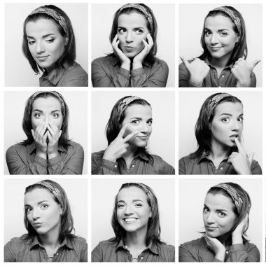 Collage of young woman face expressions composite stock vector