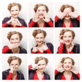 žena různé výrazy obličeje