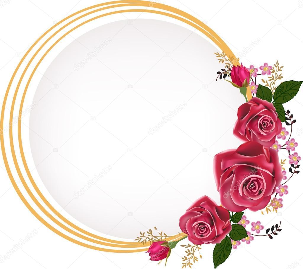 gold frame rose flowers stock vector 55585015