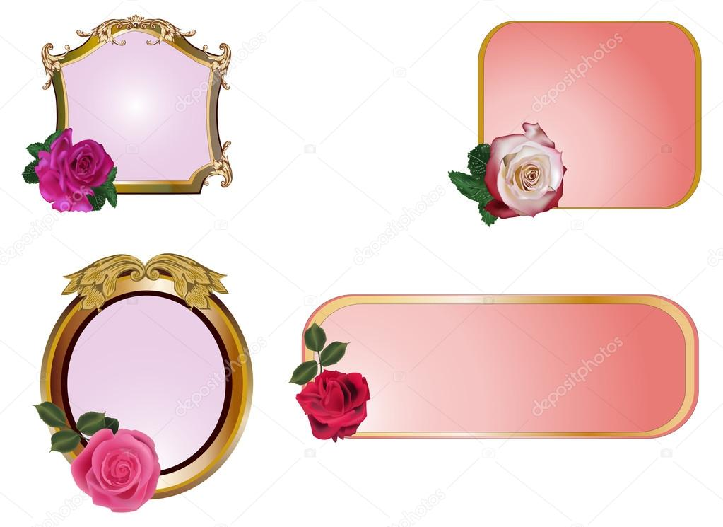 Ilration With Roses In Frames On White Background Vector By Dr Pas