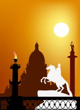 Illustration with symbols of Saint Petersburg, Russia clip art vector