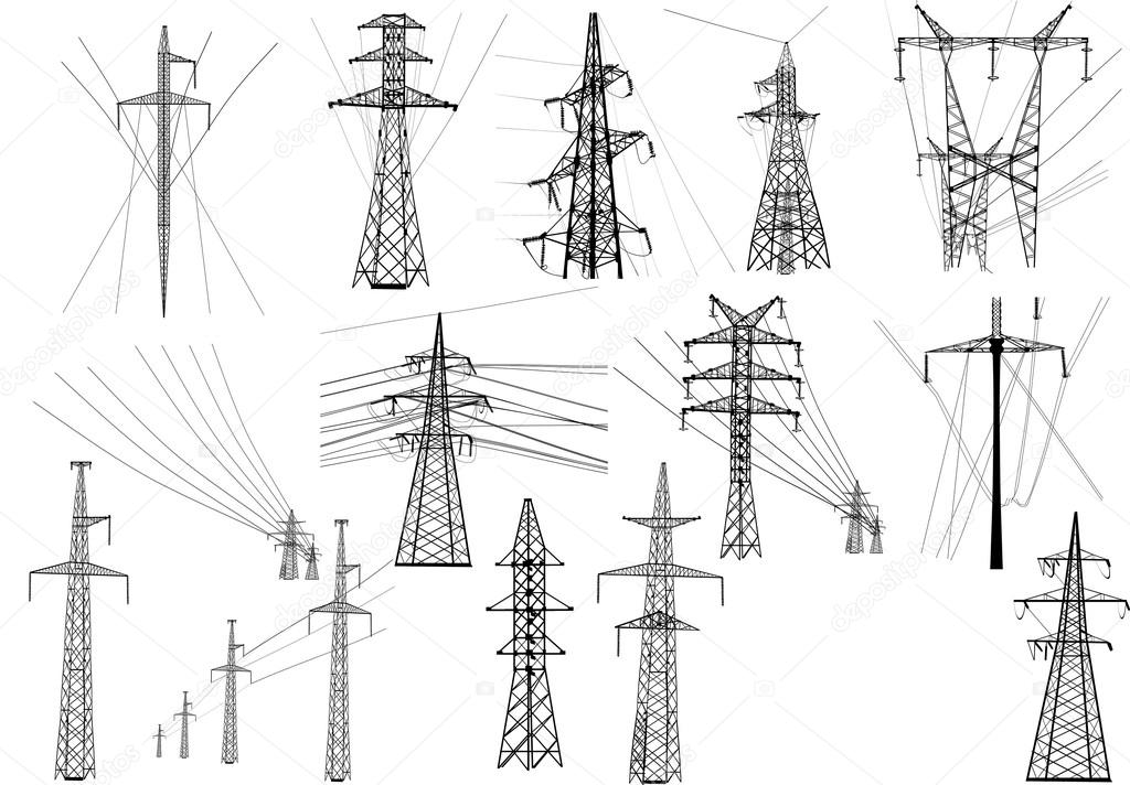 electric towers collection  u2014 stock vector  u00a9 dr pas  84182062