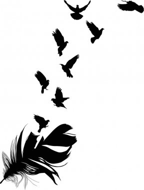 doves flying from feather silhouette
