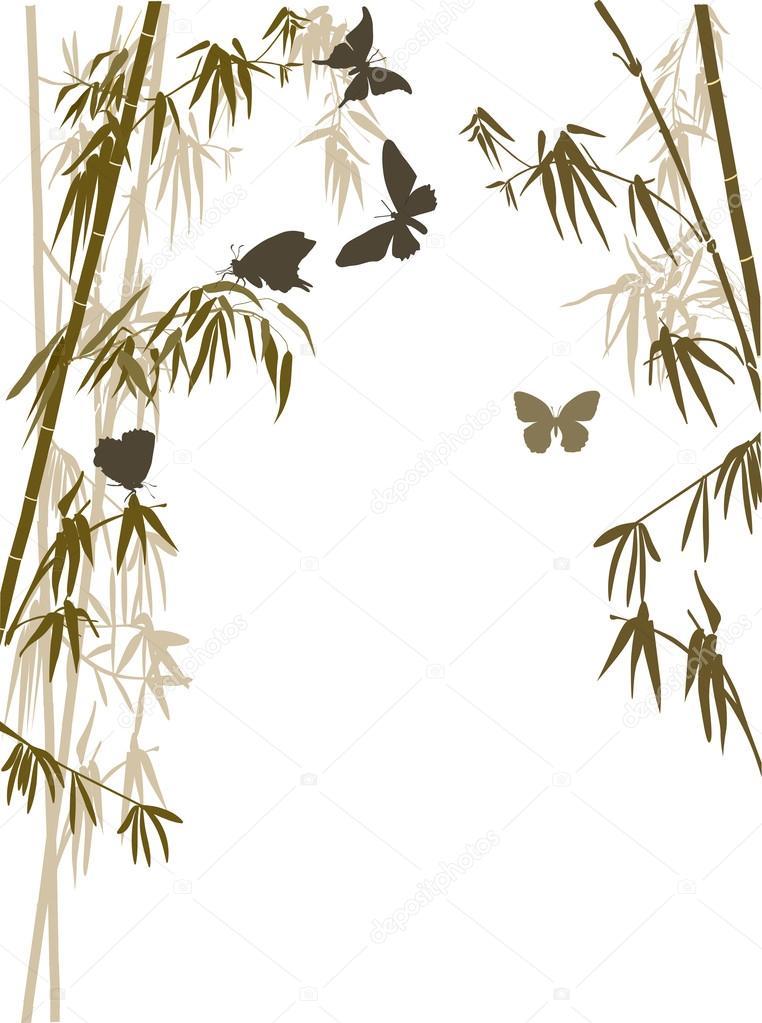 borboletas e plantas de bambu — Vetores de Stock © Dr.PAS #84208340