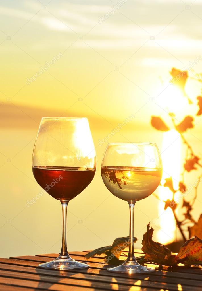 Wine against vineyards in Lavaux