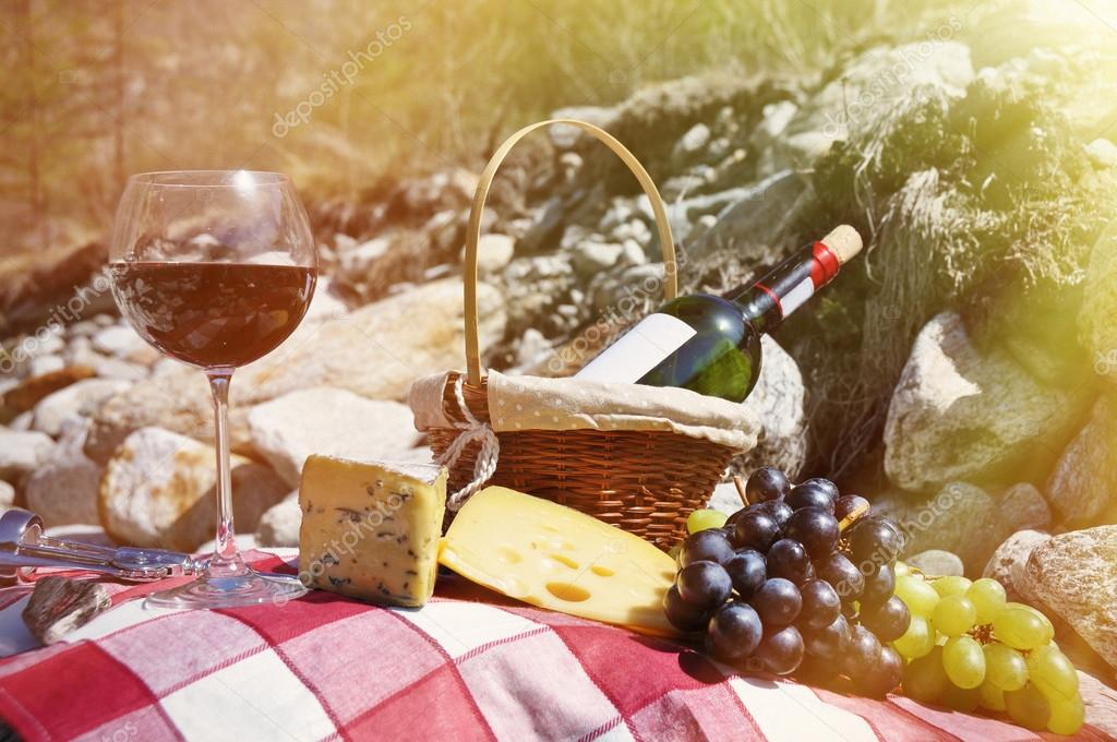 Red wine, cheese in Verzasca valley