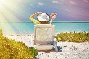 Girl on  beach of  Bahamas