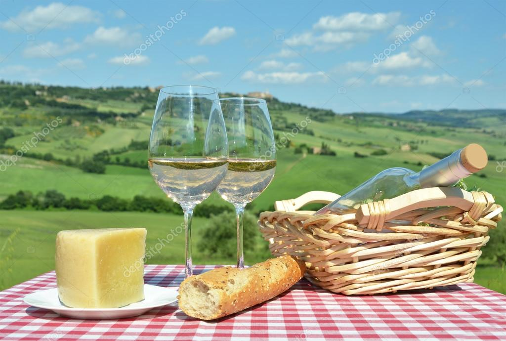 White wine on Tuscan landsacpe