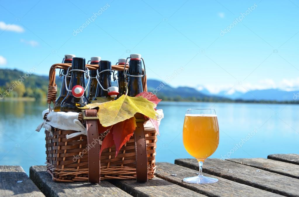 Beer on the wooden jetty