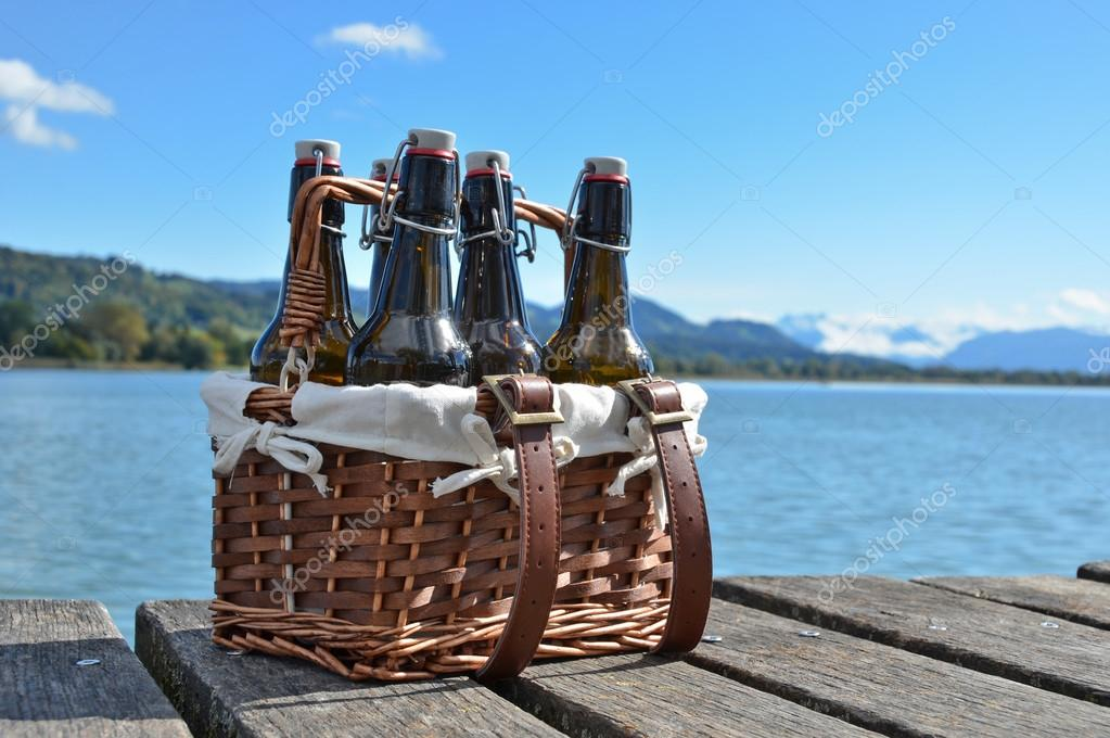 Beer bottles in the vintage basket