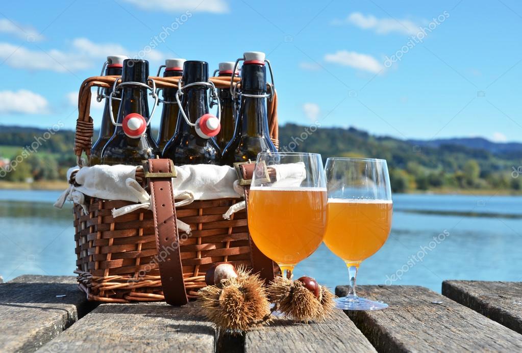 Beer bottles in the vintage basket