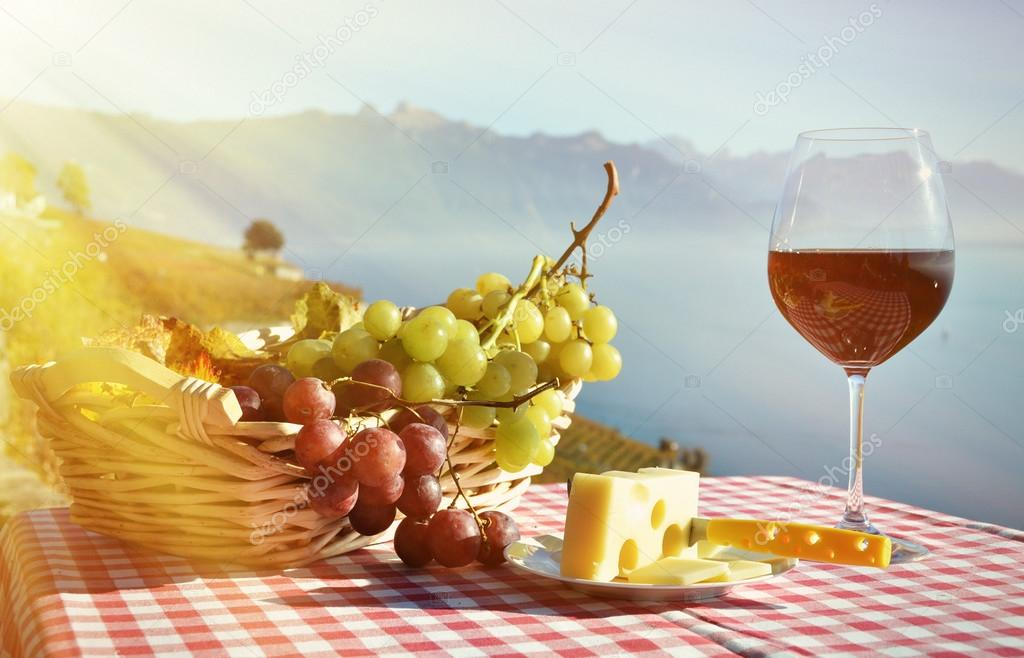 Wine and grapes in Lavaux, Switzerland