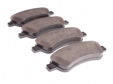 Brake pads front. White background, isolation.