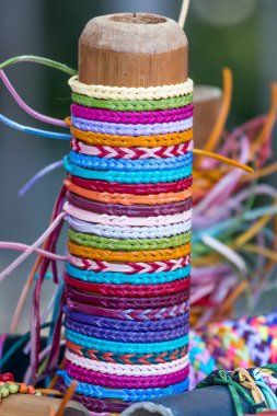 Selection of color thread bracelets