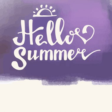 Watercolor  watermelons and lettering hello summer