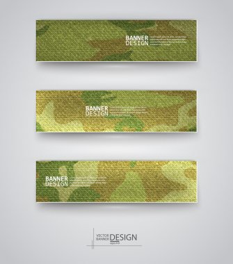 Set of abstract banner with khaki background. Vector illustration. stock vector